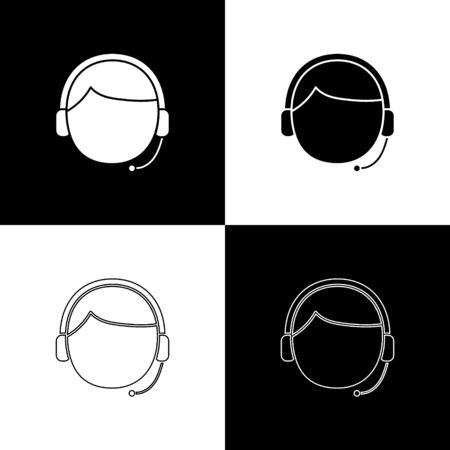 Set Man with a headset icon isolated on black and white background. Support operator in touch. Concept for call center, client support service. Vector Illustration