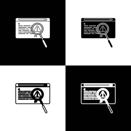 Set System bug concept icon isolated on black and white background. Code bug concept. Bug in the system. Bug searching. Vector Illustration Ilustracja