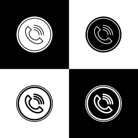 Set Phone call icon isolated on black and white background. Vector Illustration