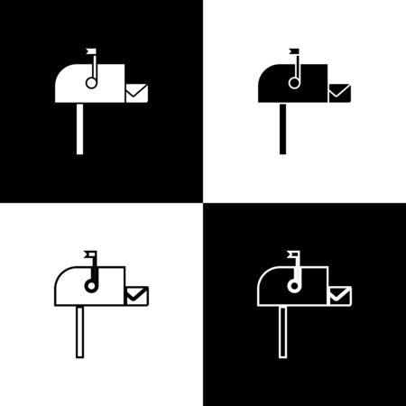 Set Open mail box icon isolated on black and white background. Mailbox icon. Mail postbox on pole with flag. Vector Illustration