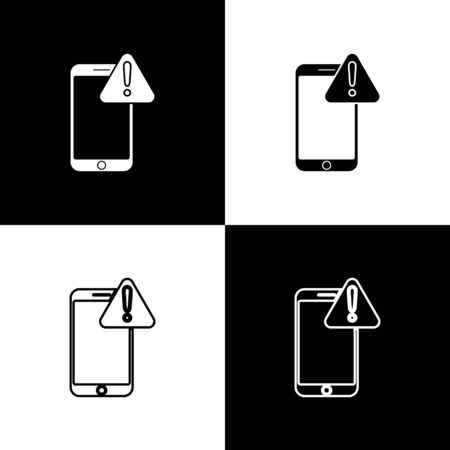 Set Mobile phone with exclamation mark icon isolated on black and white background. Alert message smartphone notification. Vector Illustration