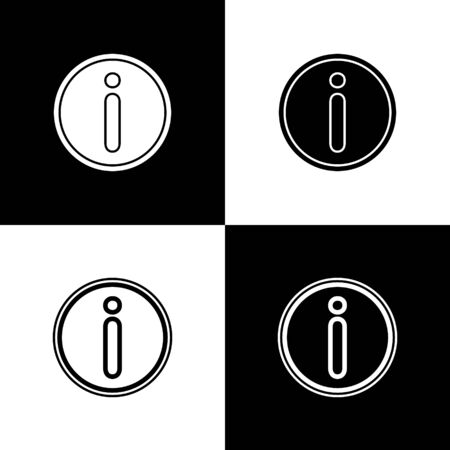 Set Information icon isolated on black and white background. Vector Illustration