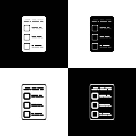 Set Create account screen on mobile phone icon isolated on black and white background. Vector Illustration