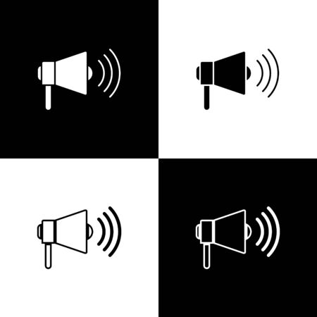Set Megaphone icon isolated on black and white background. Loud speach alert concept. Bullhorn for Mouthpiece scream promotion. Vector Illustration Foto de archivo - 138472019