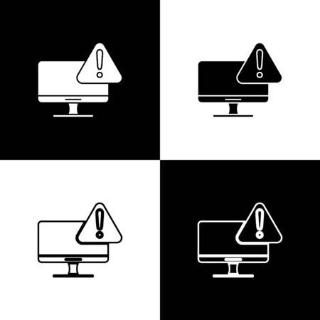 Set Computer monitor with exclamation mark icon isolated on black and white background. Alert message smartphone notification. Vector Illustration