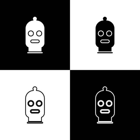 Set Balaclava icon isolated on black and white background. A piece of clothing for winter sports or a mask for a criminal or a thief. Vector Illustration