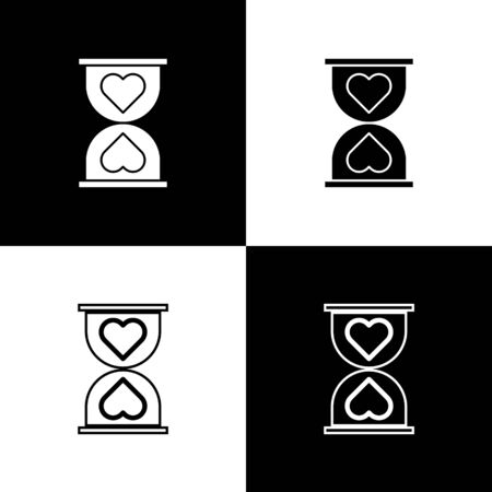 Set Heart in the center old hourglass icon isolated on black and white background. Valentines day. Vector Illustration 向量圖像