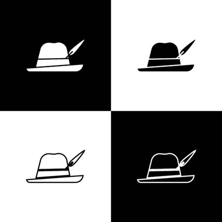 Set Oktoberfest hat icon isolated on black and white background. Hunter hat with feather. German hat. Vector Illustration