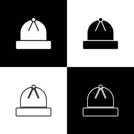 Set Winter hat icon isolated on black and white background. Vector Illustration Ilustracja
