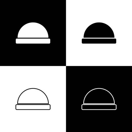 Set Beanie hat icon isolated on black and white background. Vector Illustration