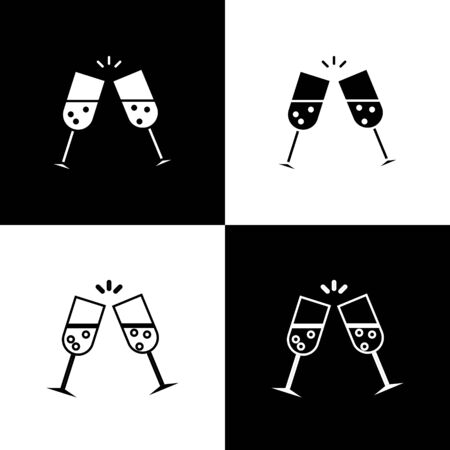 Set Glass of champagne icon isolated on black and white background. Vector Illustration Ilustrace