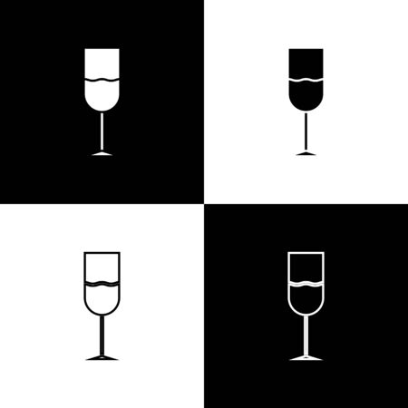 Set Wine glass icon isolated on black and white background. Wineglass icon. Goblet symbol. Glassware sign. Vector Illustration