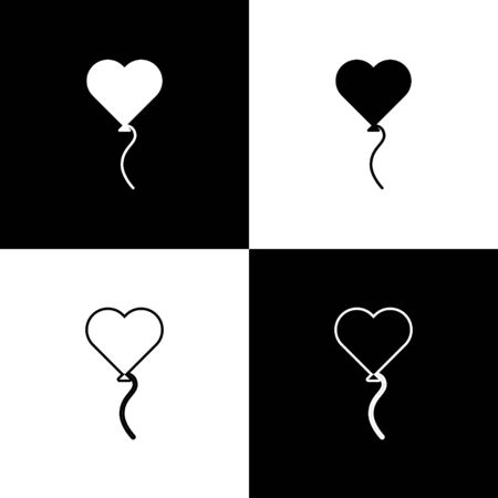Set Balloons in form of heart with ribbon icon isolated on black and white background. Valentines day symbol. Vector Illustration
