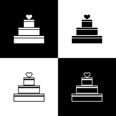Set Wedding cake with heart icon isolated on black and white background. Valentines day symbol. Vector Illustration