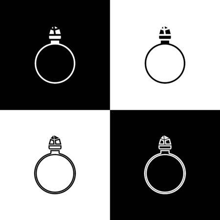 Set Diamond engagement ring icon isolated on black and white background. Vector Illustration