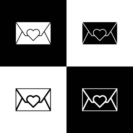 Set Envelope with Valentine heart icon isolated on black and white background. Message love. Letter love and romance. Vector Illustration