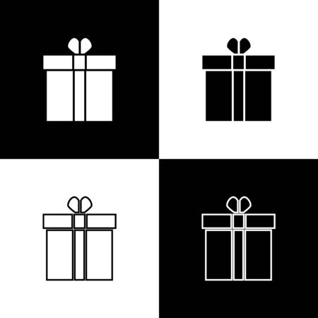 Set Gift box and heart icon isolated on black and white background. Valentines day. Vector Illustration Standard-Bild - 138472442
