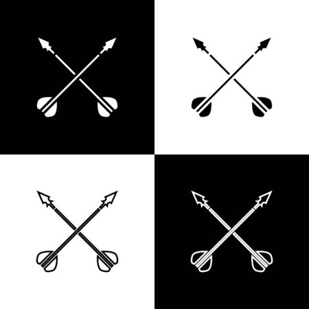 Set Medieval crossed arrows icon isolated on black and white background. Medieval weapon. Vector Illustration Zdjęcie Seryjne - 138472486