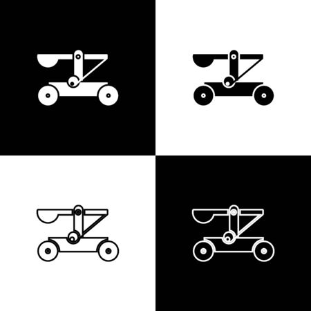 Set Old medieval wooden catapult shooting stones icon isolated on black and white background. Vector Illustration