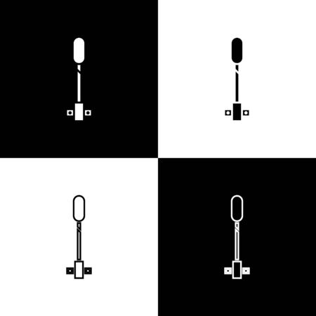 Set Torch flame icon isolated on black and white background. Symbol fire hot, flame power, flaming and heat. Vector Illustration Ilustração