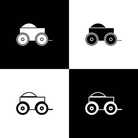 Set Wooden four-wheel cart with hay icon isolated on black and white background. Vector Illustration