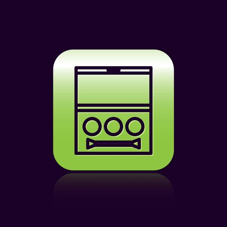 Black line Eye shadow palette with brush icon isolated on black background. Green square button. Vector Illustration