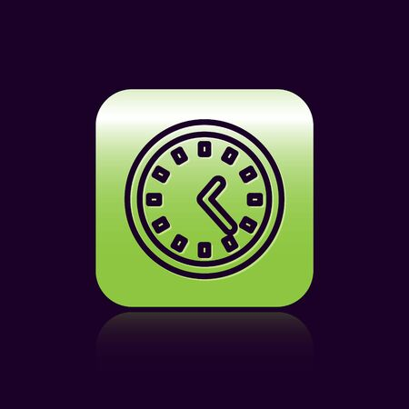 Black line Clock icon isolated on black background. Time symbol. Green square button. Vector Illustration