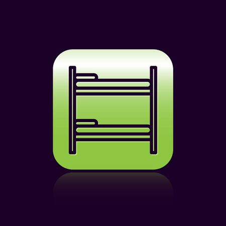 Black line Bunk bed icon isolated on black background. Green square button. Vector Illustration