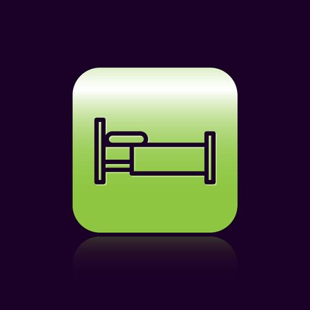 Black line Bed icon isolated on black background. Green square button. Vector Illustration Ilustrace