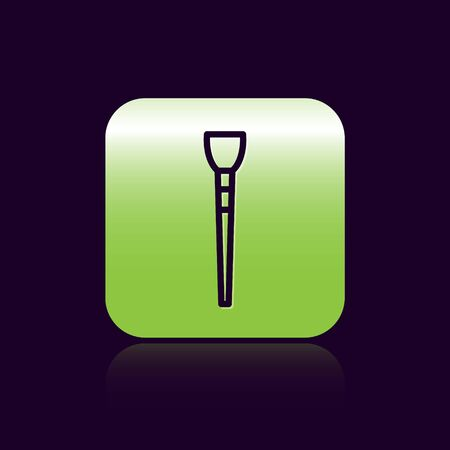 Black line Makeup brush icon isolated on black background. Green square button. Vector Illustration Çizim