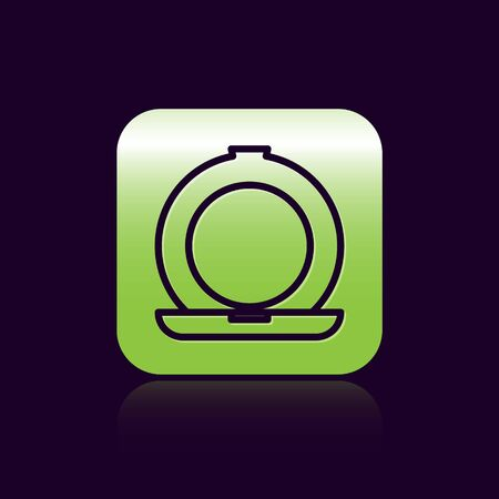 Black line Makeup powder with mirror icon isolated on black background. Green square button. Vector Illustration