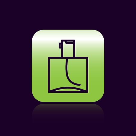 Black line Perfume icon isolated on black background. Green square button. Vector Illustration