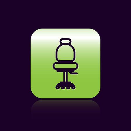 Black line Office chair icon isolated on black background. Green square button. Vector Illustration Illustration