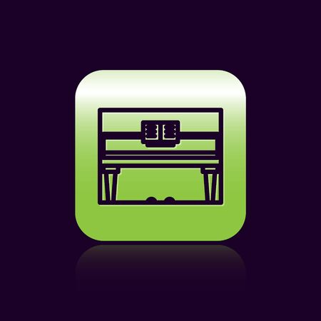 Black line Grand piano icon isolated on black background. Musical instrument. Green square button. Vector Illustration Imagens - 138473222