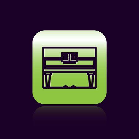 Black line Grand piano icon isolated on black background. Musical instrument. Green square button. Vector Illustration Foto de archivo - 138473222