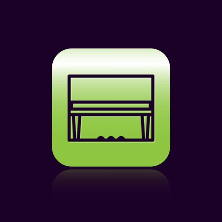 Black line Grand piano icon isolated on black background. Musical instrument. Green square button. Vector Illustration Foto de archivo - 138473162