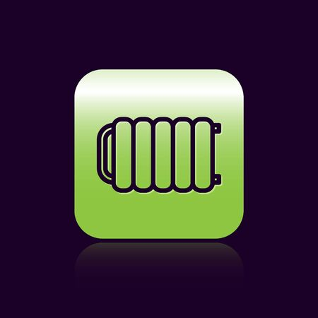 Black line Heating radiator icon isolated on black background. Green square button. Vector Illustration 일러스트