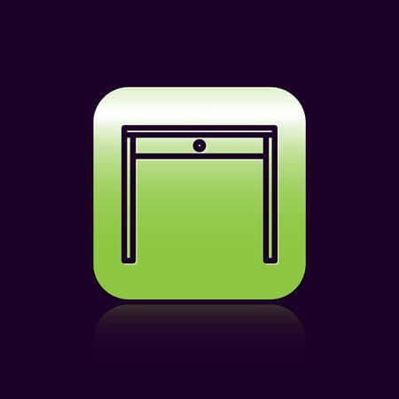 Black line Wooden table icon isolated on black background. Green square button. Vector Illustration Archivio Fotografico - 138473343