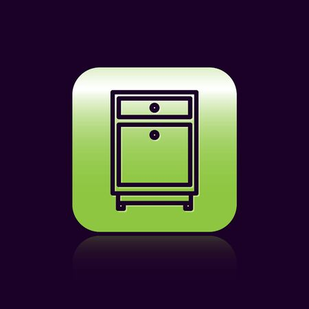 Black line Furniture nightstand icon isolated on black background. Green square button. Vector Illustration