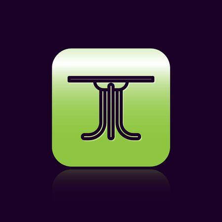 Black line Round table icon isolated on black background. Green square button. Vector Illustration Archivio Fotografico - 138473288
