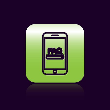 Black line Mobile phone with text FAQ information icon isolated on black background. Frequently asked questions. Green square button. Vector Illustration