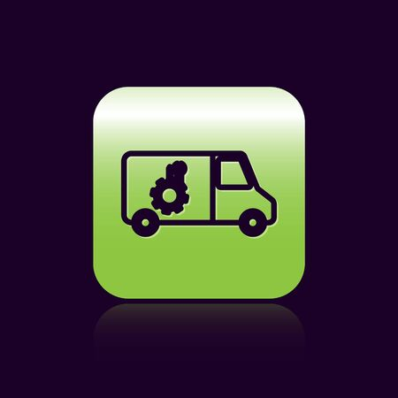 Black line Car service icon isolated on black background. Repair service auto mechanic. Maintenance sign. Green square button. Vector Illustration Standard-Bild - 138473626
