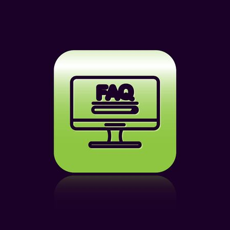 Black line Computer monitor with text FAQ information icon isolated on black background. Frequently asked questions. Green square button. Vector Illustration Illustration
