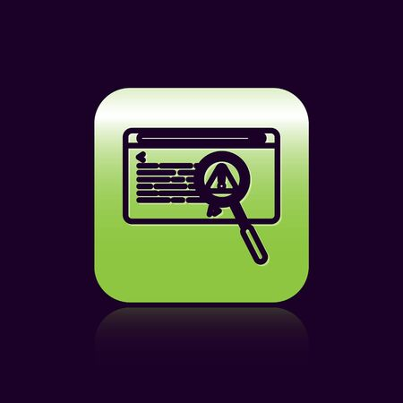 Black line System bug concept icon isolated on black background. Code bug concept. Bug in the system. Bug searching. Green square button. Vector Illustration