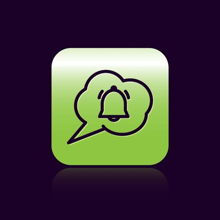 Black line Speech bubble with chat notification icon isolated on black background. New message, dialog, chat, social network notification. Green square button. Vector Illustration