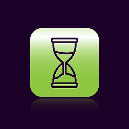 Black line Old hourglass with flowing sand icon isolated on black background. Sand clock sign. Business and time management concept. Green square button. Vector Illustration