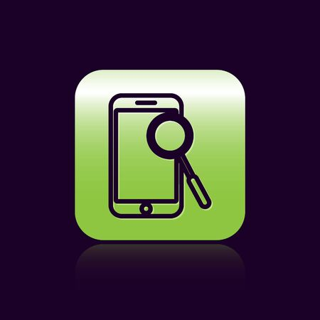 Black line Mobile phone diagnostics icon isolated on black background. Adjusting app, service, setting options, maintenance, repair, fixing. Green square button. Vector Illustration Illustration