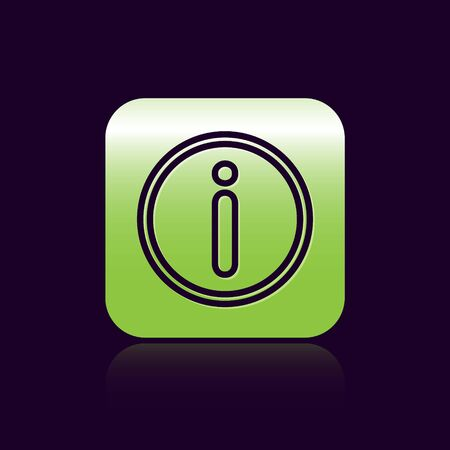 Black line Information icon isolated on black background. Green square button. Vector Illustration