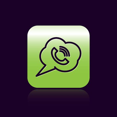 Black line Speech bubble with phone call icon isolated on black background. Green square button. Vector Illustration