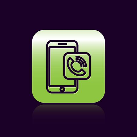 Black line Mobile phone call icon isolated on black background. Green square button. Vector Illustration Illustration